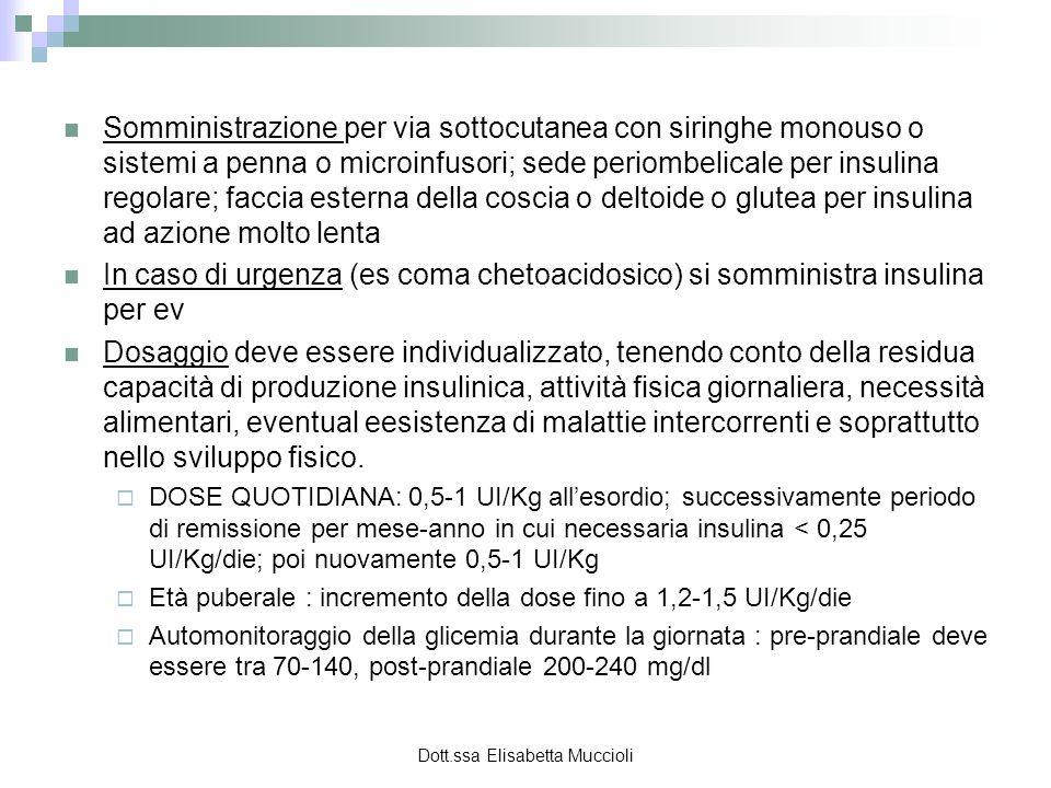 Dott.ssa Elisabetta Muccioli Somministrazione per via sottocutanea con siringhe monouso o sistemi a penna o microinfusori; sede periombelicale per ins