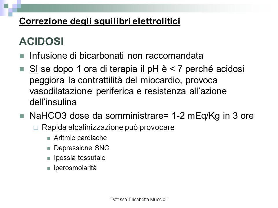 Dott.ssa Elisabetta Muccioli Correzione degli squilibri elettrolitici ACIDOSI Infusione di bicarbonati non raccomandata SI se dopo 1 ora di terapia il