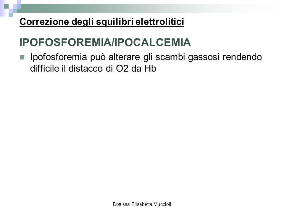 Dott.ssa Elisabetta Muccioli Correzione degli squilibri elettrolitici IPOFOSFOREMIA/IPOCALCEMIA Ipofosforemia può alterare gli scambi gassosi rendendo