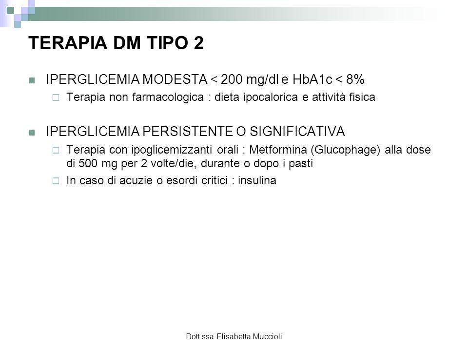 Dott.ssa Elisabetta Muccioli TERAPIA DM TIPO 2 IPERGLICEMIA MODESTA < 200 mg/dl e HbA1c < 8% Terapia non farmacologica : dieta ipocalorica e attività