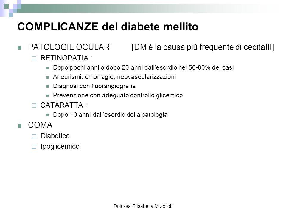 Dott.ssa Elisabetta Muccioli PATOLOGIE OCULARI [DM è la causa più frequente di cecità!!!] RETINOPATIA : Dopo pochi anni o dopo 20 anni dallesordio nel