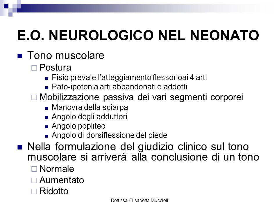Dott.ssa Elisabetta Muccioli E.O. NEUROLOGICO NEL NEONATO Tono muscolare Postura Fisio prevale latteggiamento flessorioai 4 arti Pato-ipotonia arti ab