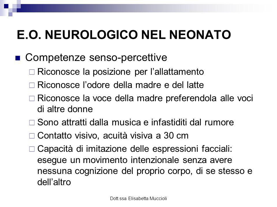 Dott.ssa Elisabetta Muccioli E.O. NEUROLOGICO NEL NEONATO Competenze senso-percettive Riconosce la posizione per lallattamento Riconosce lodore della