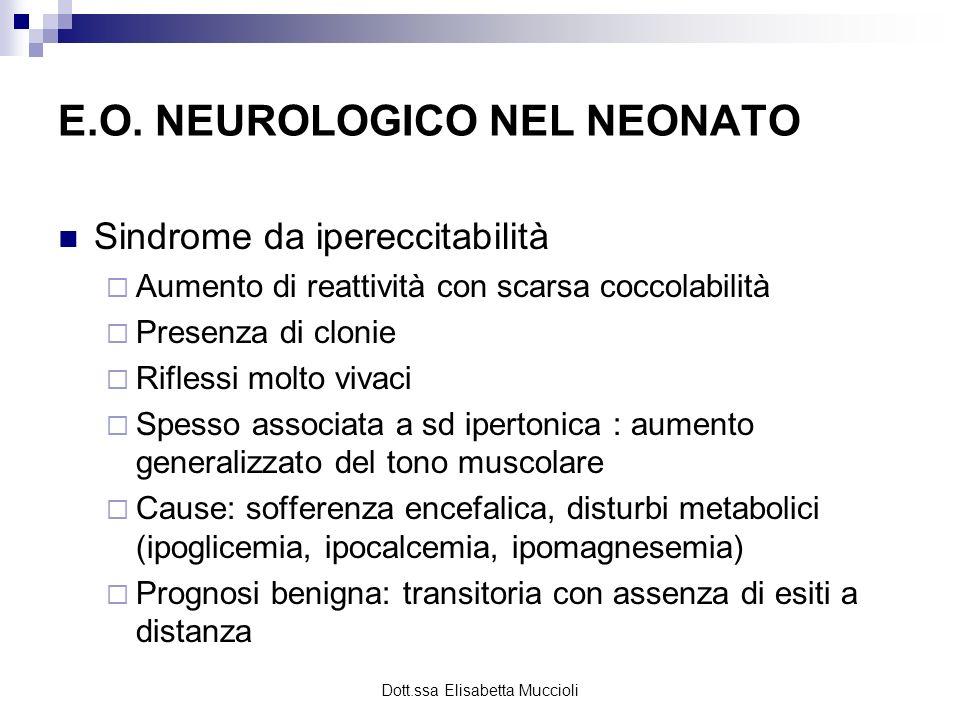 Dott.ssa Elisabetta Muccioli E.O. NEUROLOGICO NEL NEONATO Sindrome da ipereccitabilità Aumento di reattività con scarsa coccolabilità Presenza di clon