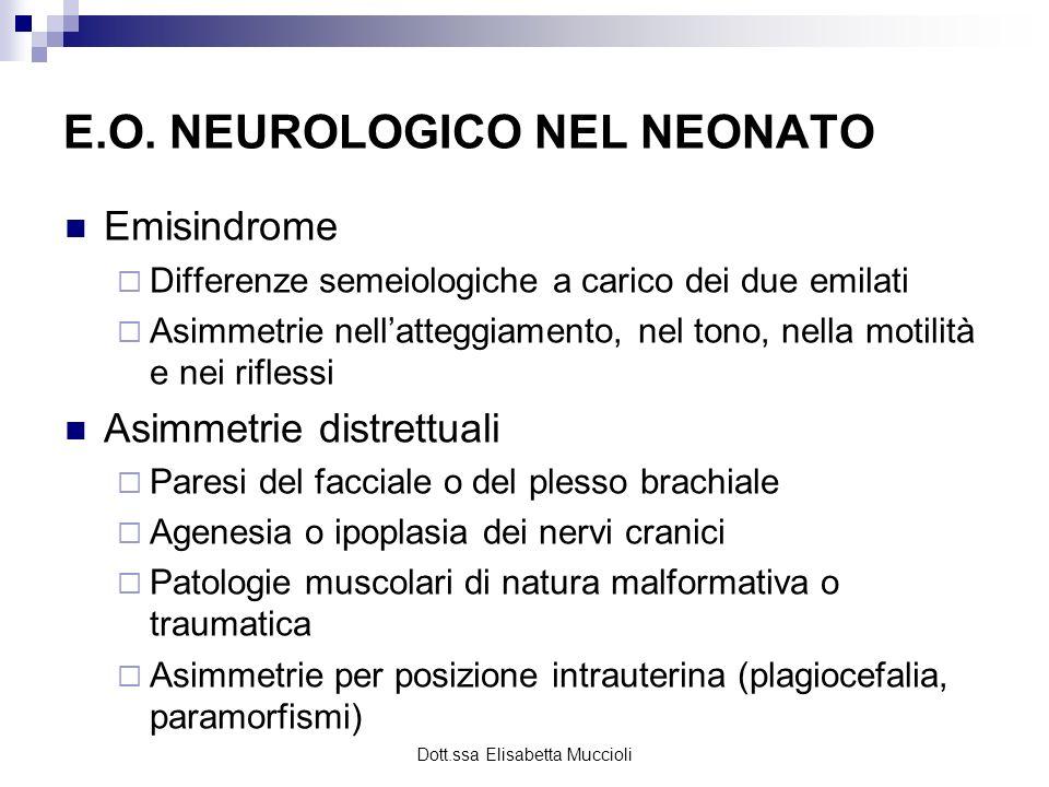 Dott.ssa Elisabetta Muccioli E.O. NEUROLOGICO NEL NEONATO Emisindrome Differenze semeiologiche a carico dei due emilati Asimmetrie nellatteggiamento,