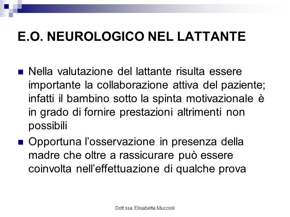 Dott.ssa Elisabetta Muccioli E.O. NEUROLOGICO NEL LATTANTE Nella valutazione del lattante risulta essere importante la collaborazione attiva del pazie