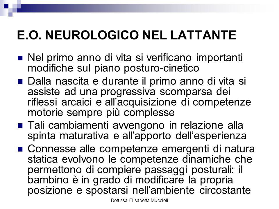 Dott.ssa Elisabetta Muccioli E.O. NEUROLOGICO NEL LATTANTE Nel primo anno di vita si verificano importanti modifiche sul piano posturo-cinetico Dalla