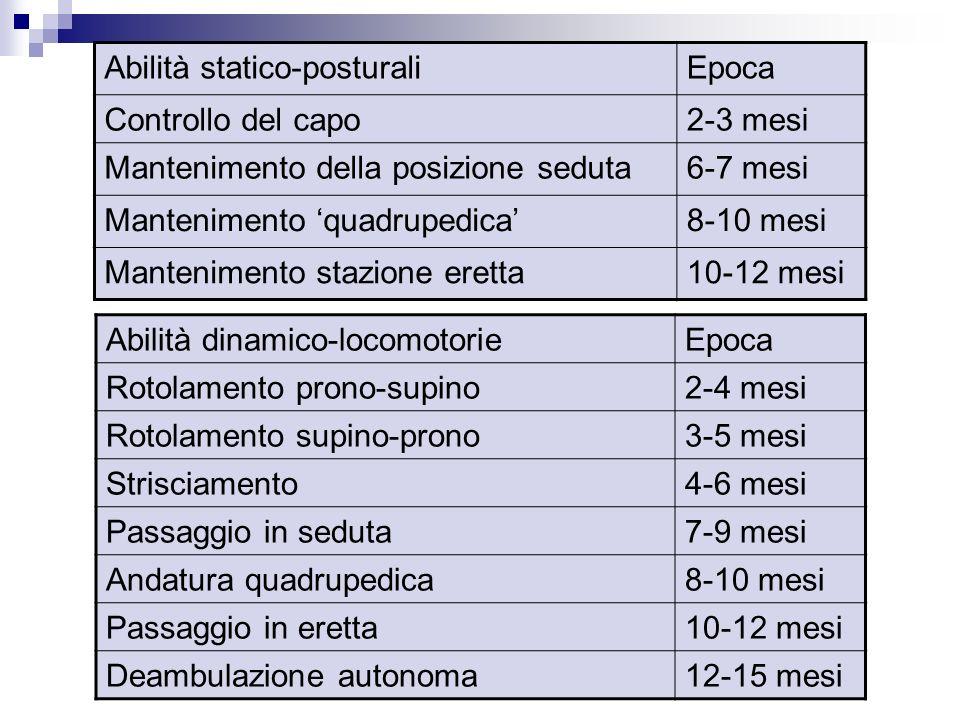 Dott.ssa Elisabetta Muccioli Abilità statico-posturaliEpoca Controllo del capo2-3 mesi Mantenimento della posizione seduta6-7 mesi Mantenimento quadru