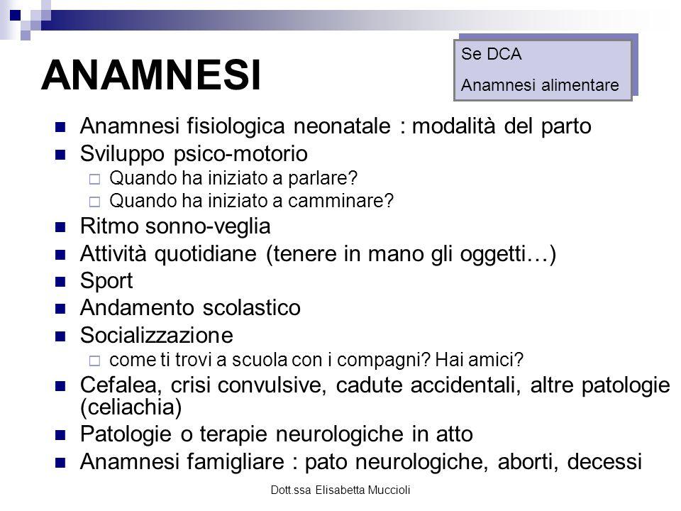 Dott.ssa Elisabetta Muccioli ANAMNESI Anamnesi fisiologica neonatale : modalità del parto Sviluppo psico-motorio Quando ha iniziato a parlare? Quando