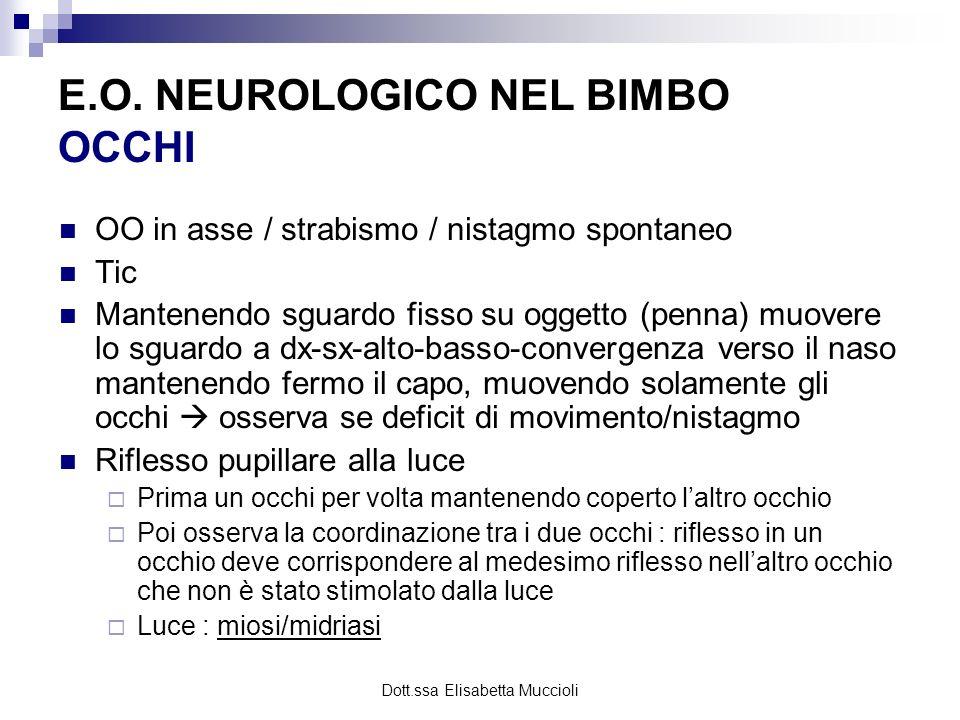 Dott.ssa Elisabetta Muccioli OO in asse / strabismo / nistagmo spontaneo Tic Mantenendo sguardo fisso su oggetto (penna) muovere lo sguardo a dx-sx-al