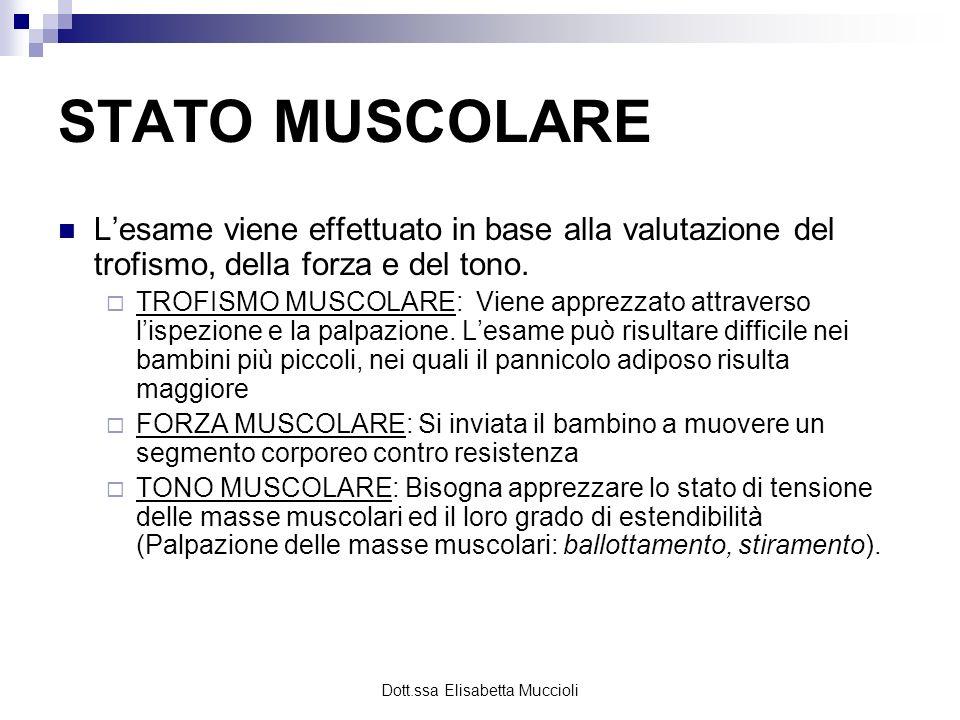 Dott.ssa Elisabetta Muccioli STATO MUSCOLARE Lesame viene effettuato in base alla valutazione del trofismo, della forza e del tono. TROFISMO MUSCOLARE