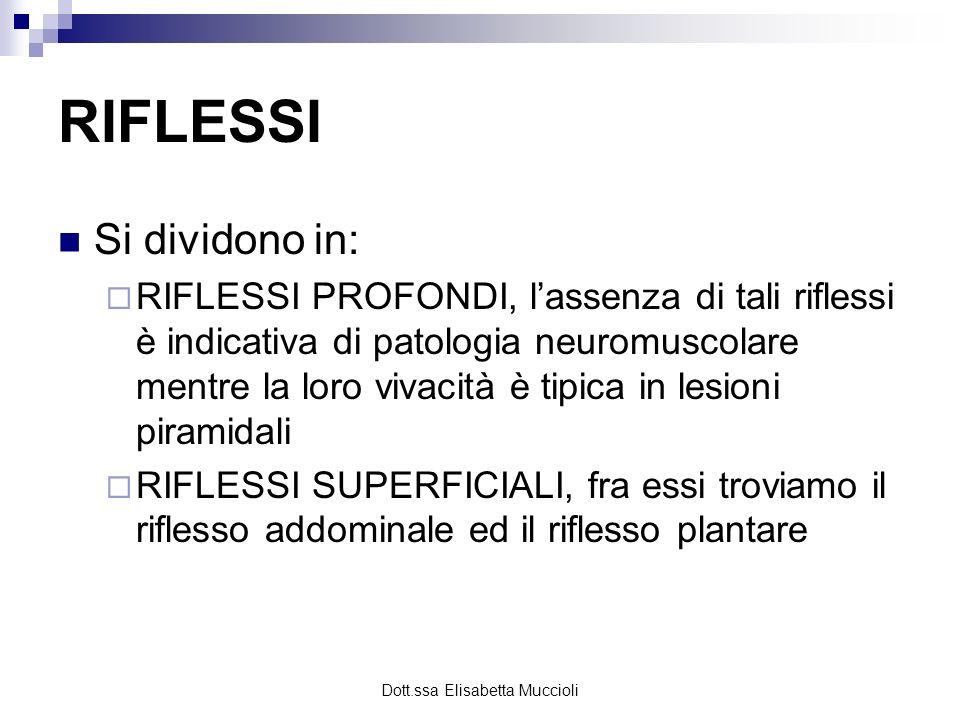 Dott.ssa Elisabetta Muccioli RIFLESSI Si dividono in: RIFLESSI PROFONDI, lassenza di tali riflessi è indicativa di patologia neuromuscolare mentre la
