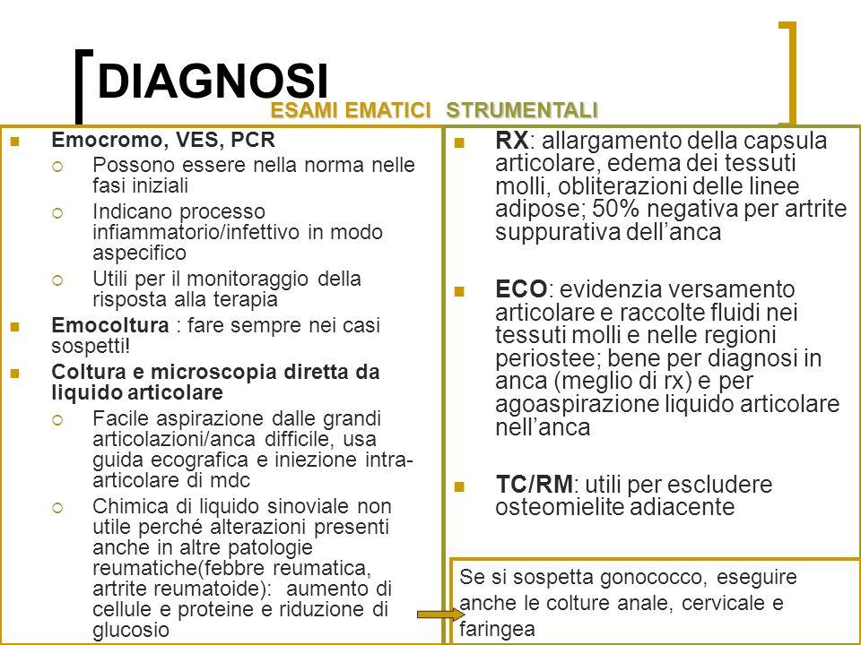Dott.ssa Elisabetta Muccioli DIAGNOSI Emocromo, VES, PCR Possono essere nella norma nelle fasi iniziali Indicano processo infiammatorio/infettivo in modo aspecifico Utili per il monitoraggio della risposta alla terapia Emocoltura : fare sempre nei casi sospetti.