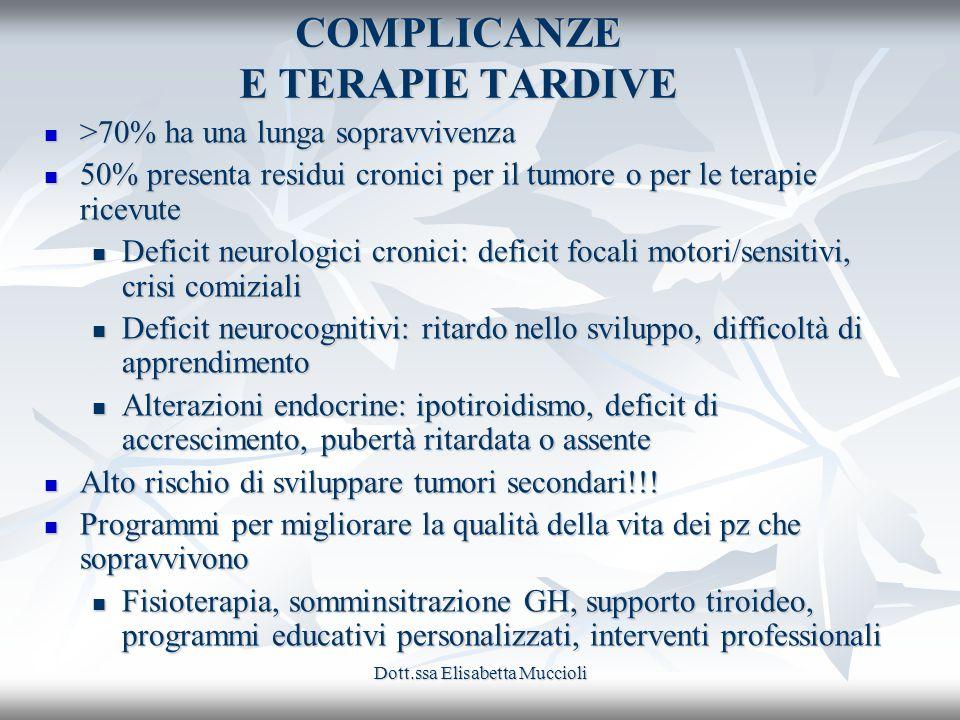Dott.ssa Elisabetta Muccioli COMPLICANZE E TERAPIE TARDIVE >70% ha una lunga sopravvivenza >70% ha una lunga sopravvivenza 50% presenta residui cronic