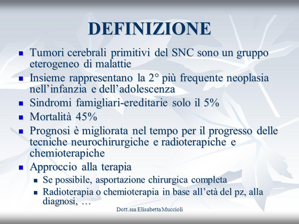 Dott.ssa Elisabetta Muccioli DEFINIZIONE Tumori cerebrali primitivi del SNC sono un gruppo eterogeneo di malattie Tumori cerebrali primitivi del SNC s