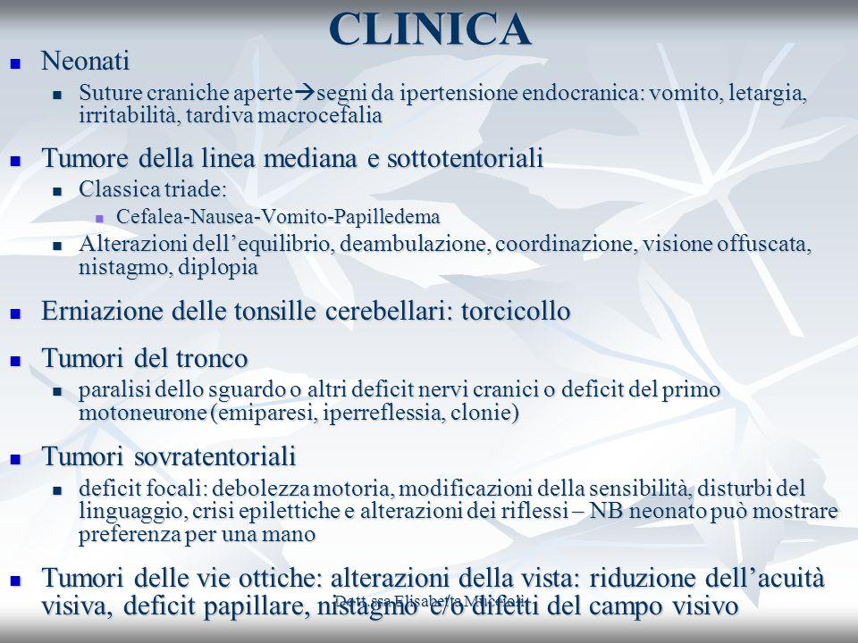 Dott.ssa Elisabetta MuccioliCLINICA Neonati Neonati Suture craniche aperte segni da ipertensione endocranica: vomito, letargia, irritabilità, tardiva