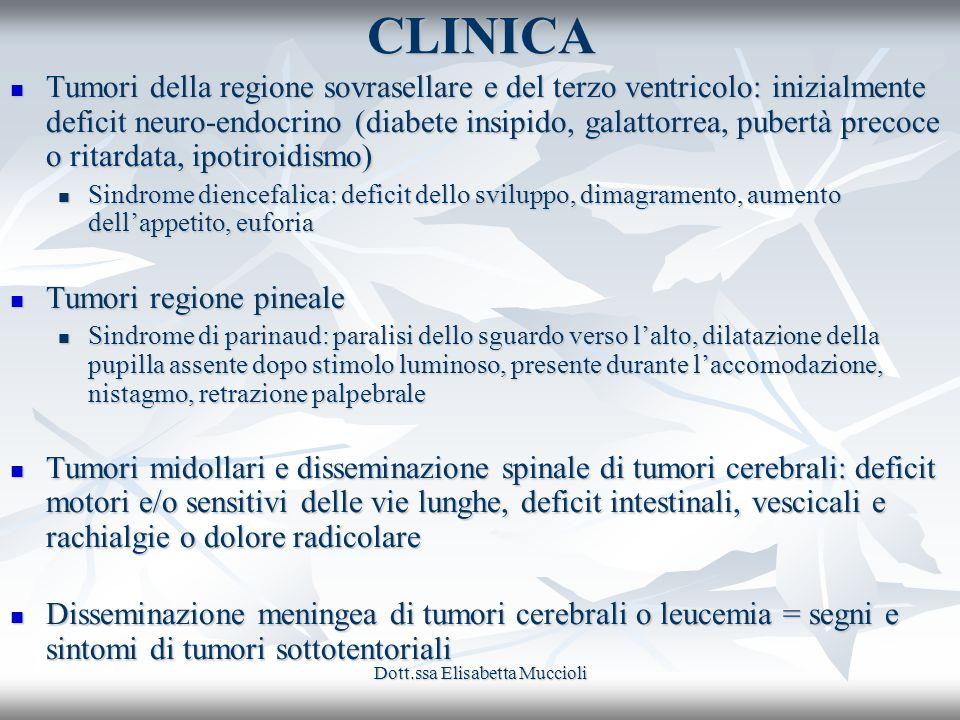 Dott.ssa Elisabetta MuccioliCLINICA Tumori della regione sovrasellare e del terzo ventricolo: inizialmente deficit neuro-endocrino (diabete insipido,