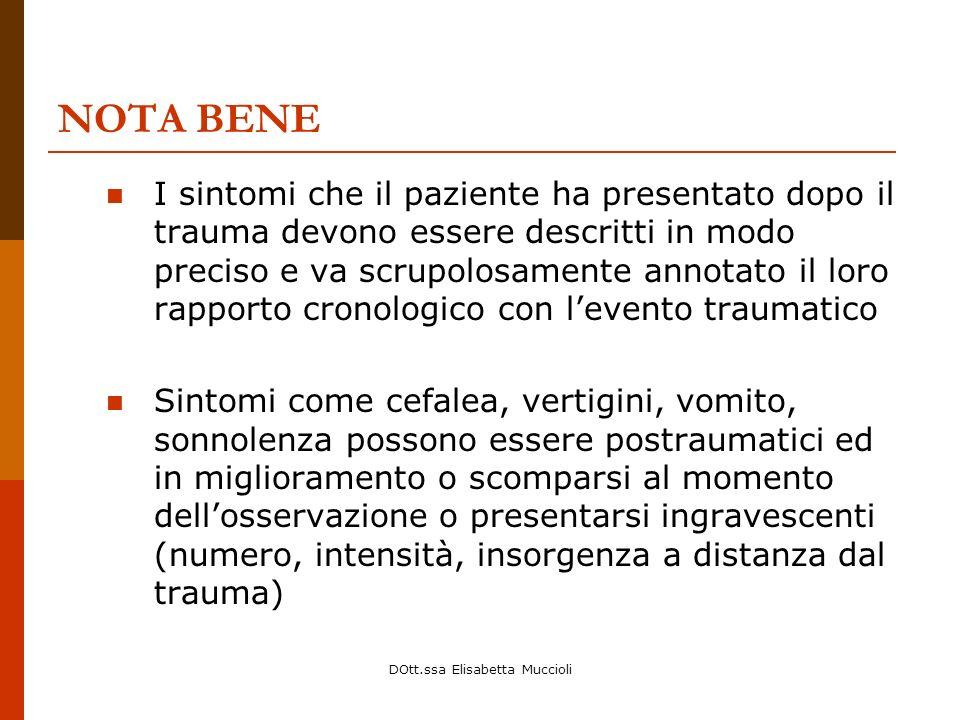 DOtt.ssa Elisabetta Muccioli NOTA BENE I sintomi che il paziente ha presentato dopo il trauma devono essere descritti in modo preciso e va scrupolosam