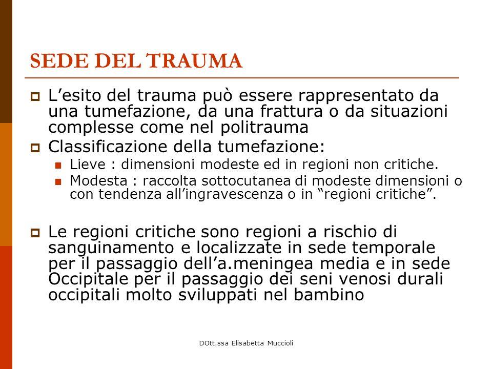 DOtt.ssa Elisabetta Muccioli SEDE DEL TRAUMA Lesito del trauma può essere rappresentato da una tumefazione, da una frattura o da situazioni complesse