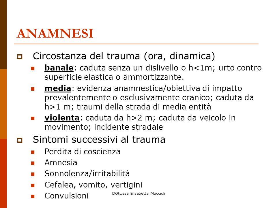 DOtt.ssa Elisabetta Muccioli ANAMNESI Circostanza del trauma (ora, dinamica) banale: caduta senza un dislivello o h<1m; urto contro superficie elastic