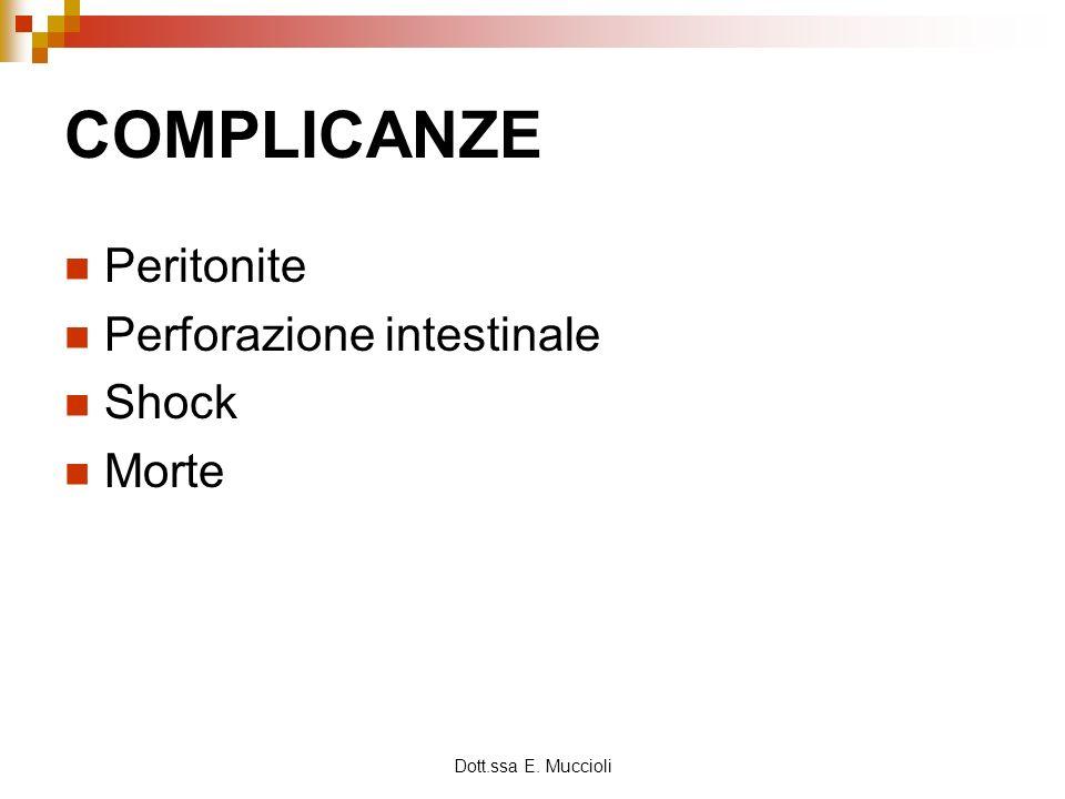 Dott.ssa E. Muccioli COMPLICANZE Peritonite Perforazione intestinale Shock Morte