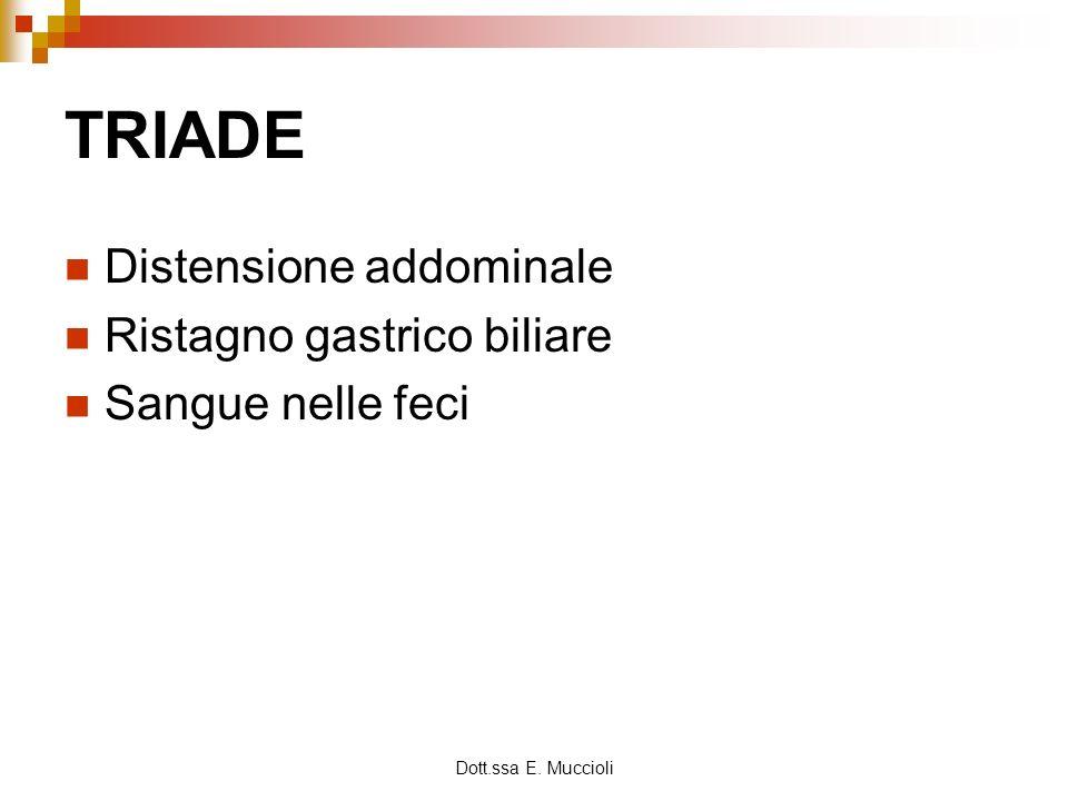 Dott.ssa E. Muccioli TRIADE Distensione addominale Ristagno gastrico biliare Sangue nelle feci