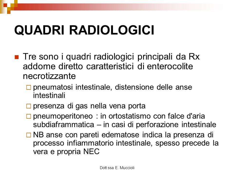 Dott.ssa E. Muccioli QUADRI RADIOLOGICI Tre sono i quadri radiologici principali da Rx addome diretto caratteristici di enterocolite necrotizzante pne