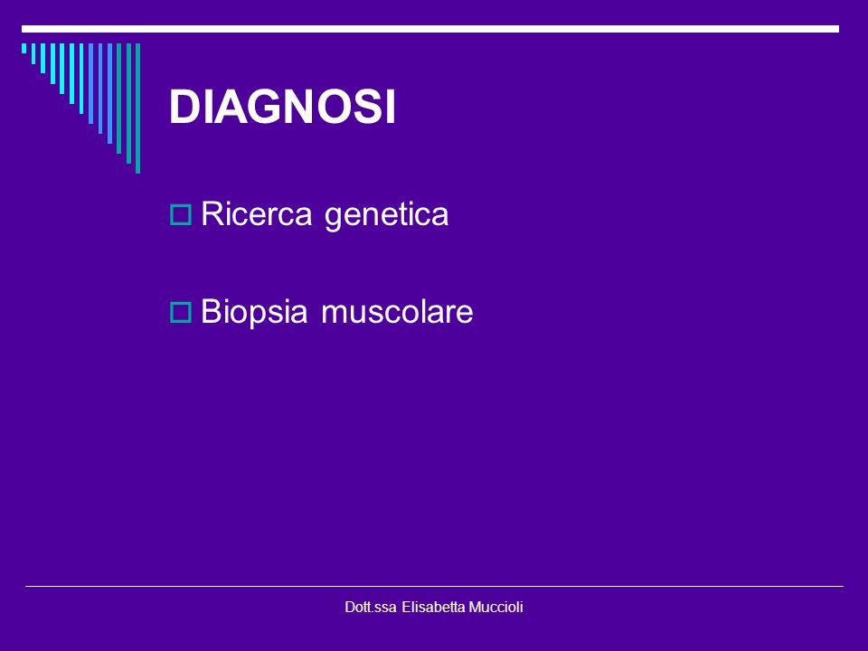Dott.ssa Elisabetta Muccioli DIAGNOSI Ricerca genetica Biopsia muscolare
