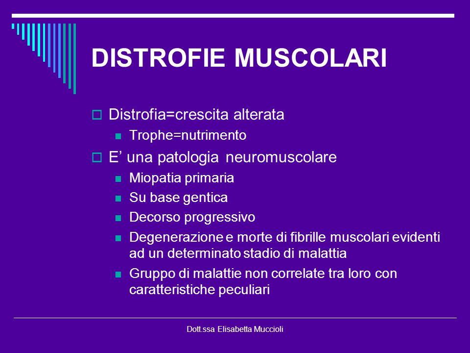 Dott.ssa Elisabetta Muccioli DISTROFIE MUSCOLARI Distrofia=crescita alterata Trophe=nutrimento E una patologia neuromuscolare Miopatia primaria Su bas