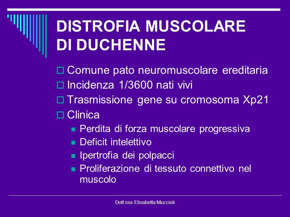 Dott.ssa Elisabetta Muccioli DISTROFIA MUSCOLARE DI DUCHENNE Comune pato neuromuscolare ereditaria Incidenza 1/3600 nati vivi Trasmissione gene su cro
