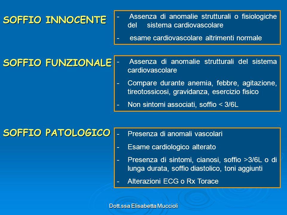 Dott.ssa Elisabetta Muccioli SOFFIO INNOCENTE - Assenza di anomalie strutturali o fisiologiche del sistema cardiovascolare - esame cardiovascolare alt