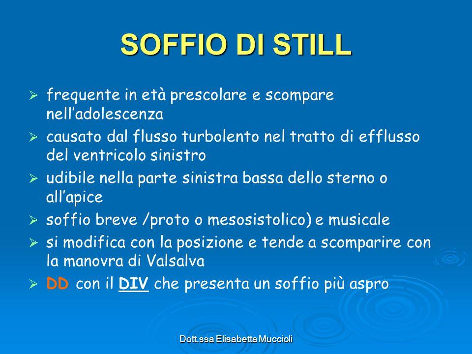 Dott.ssa Elisabetta Muccioli SOFFIO DI STILL frequente in età prescolare e scompare nelladolescenza causato dal flusso turbolento nel tratto di efflus