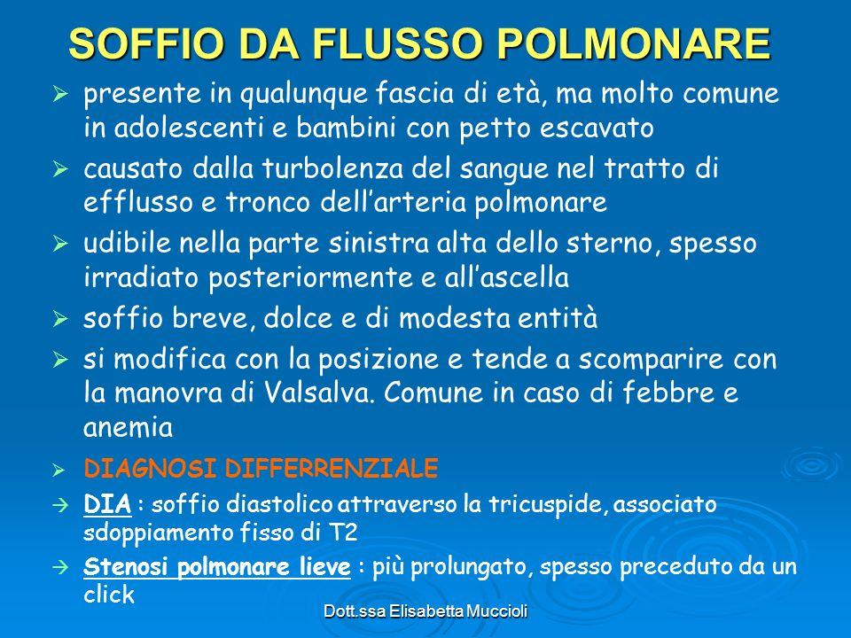 Dott.ssa Elisabetta Muccioli SOFFIO DA FLUSSO POLMONARE presente in qualunque fascia di età, ma molto comune in adolescenti e bambini con petto escava