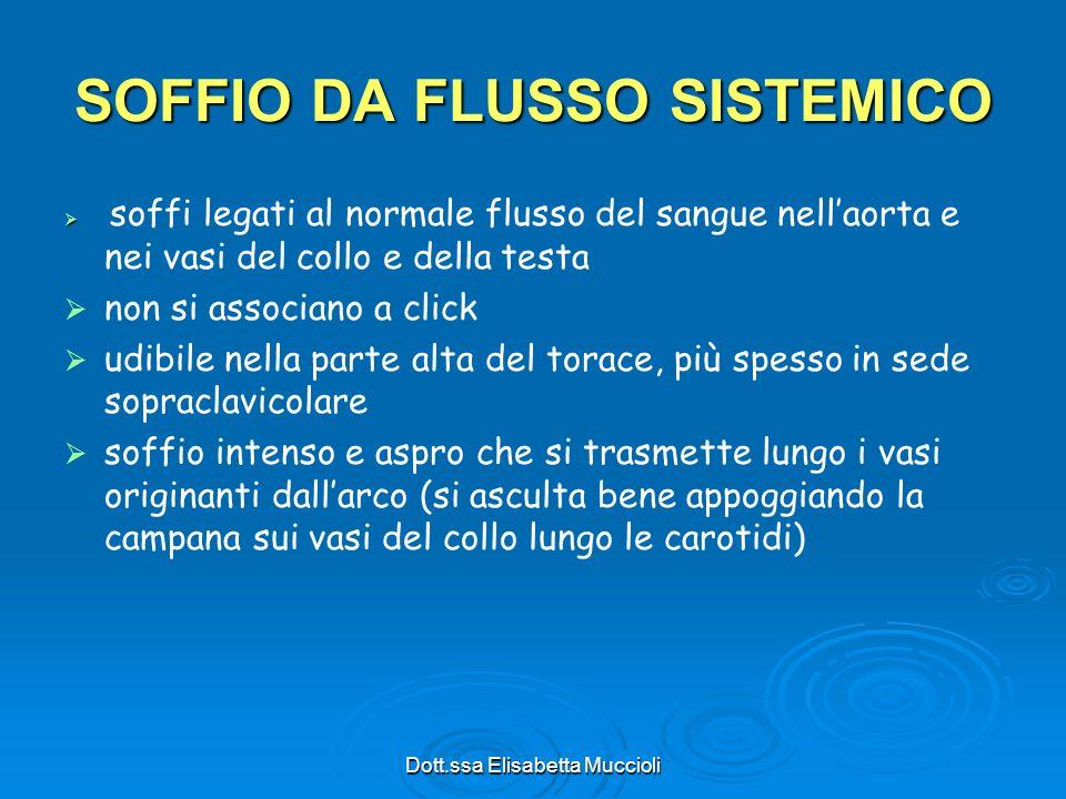 Dott.ssa Elisabetta Muccioli SOFFIO DA FLUSSO SISTEMICO soffi legati al normale flusso del sangue nellaorta e nei vasi del collo e della testa non si