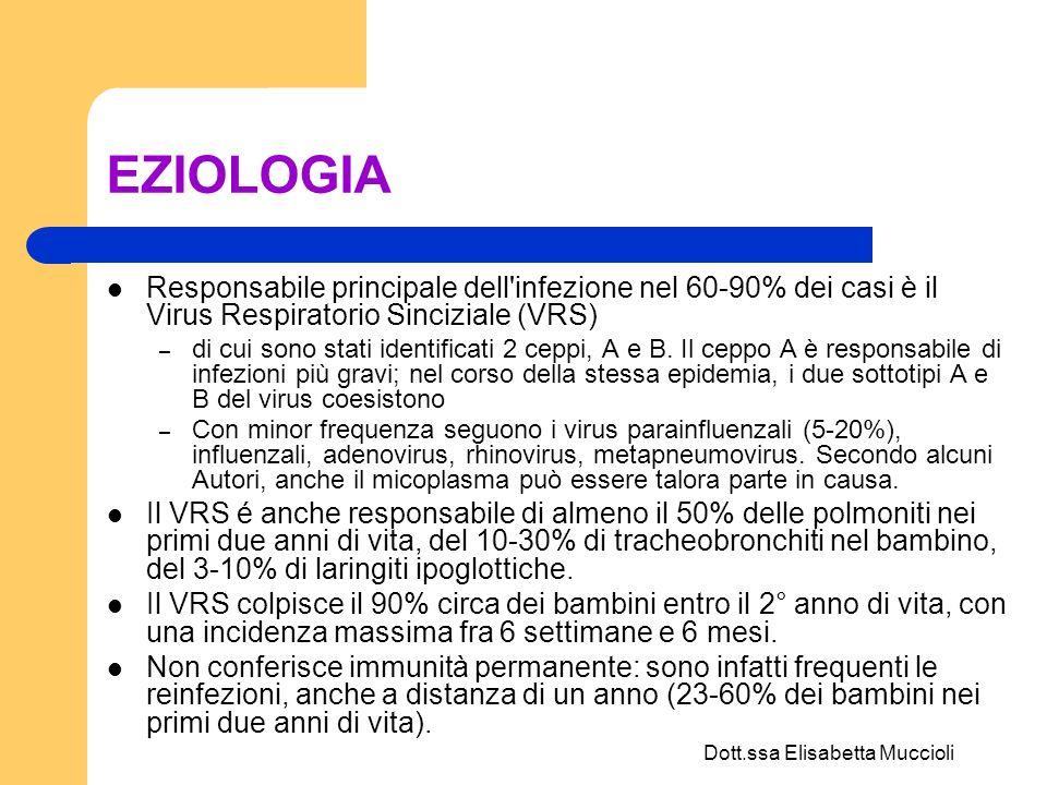Dott.ssa Elisabetta Muccioli RICOVERO FR > 60/min Cianosi, distress respiratorio, rientramenti toracici Apnea SaO2 < 92-93% Disidratazione/Ridotta alimentazione Considerare la presenza dei seguenti fattori di rischio: Età < 12 sett.