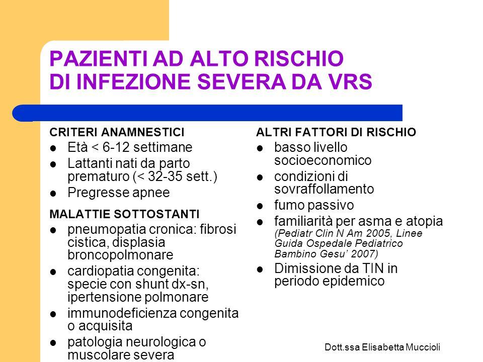 Dott.ssa Elisabetta Muccioli CLINICA Caratterizzata da un ampio range di sintomi, con vario grado di gravità Prodromi: rinorrea e faringite Dopo 1-3 giorni: tosse accessionale, calo dellappetito, febbre (incostante) intermittente, da moderata fino a 38.5-39°, dispnea Difficoltà ad alimentarsi e ad assumere liquidi (rischio di disidratazione) Apnea (20% degli ospedalizzati, soprattutto nei primi 2 mesi e nei nati da parto prematuro e in fase precoce di malattia)
