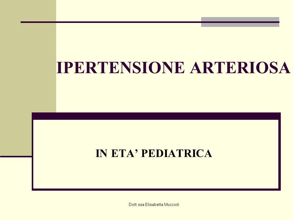Dott.ssa Elisabetta Muccioli IPERTENSIONE ARTERIOSA IN ETA PEDIATRICA