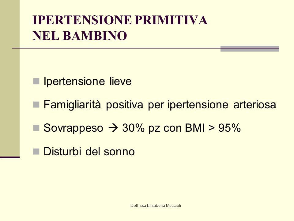 Dott.ssa Elisabetta Muccioli IPERTENSIONE PRIMITIVA NEL BAMBINO Ipertensione lieve Famigliarità positiva per ipertensione arteriosa Sovrappeso 30% pz