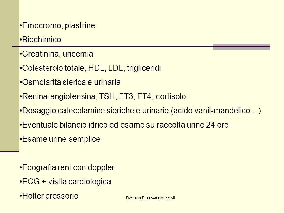 Dott.ssa Elisabetta Muccioli Emocromo, piastrine Biochimico Creatinina, uricemia Colesterolo totale, HDL, LDL, trigliceridi Osmolarità sierica e urina