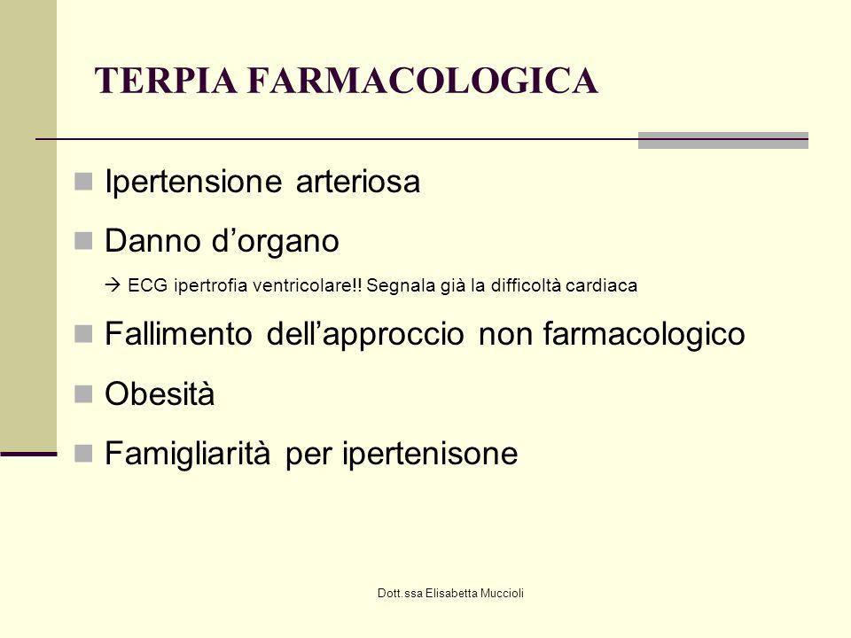 Dott.ssa Elisabetta Muccioli TERPIA FARMACOLOGICA Ipertensione arteriosa Danno dorgano ECG ipertrofia ventricolare!! Segnala già la difficoltà cardiac