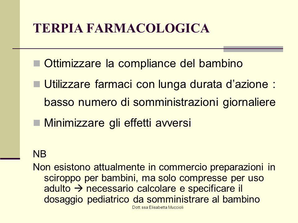Dott.ssa Elisabetta Muccioli TERPIA FARMACOLOGICA Ottimizzare la compliance del bambino Utilizzare farmaci con lunga durata dazione : basso numero di