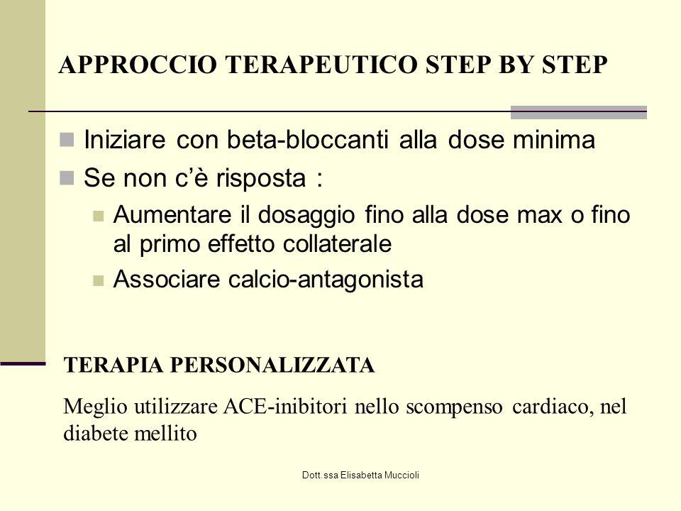 Dott.ssa Elisabetta Muccioli APPROCCIO TERAPEUTICO STEP BY STEP Iniziare con beta-bloccanti alla dose minima Se non cè risposta : Aumentare il dosaggi