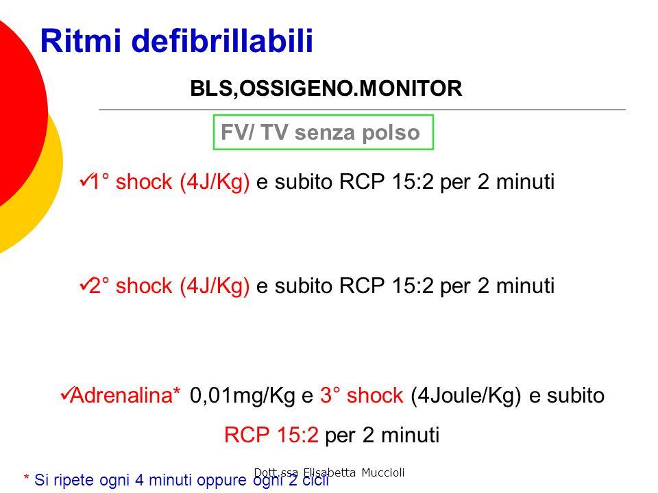 Dott.ssa Elisabetta Muccioli Ritmi defibrillabili FV/ TV senza polso 1° shock (4J/Kg) e subito RCP 15:2 per 2 minuti Valutazione ritmo e polso se anco