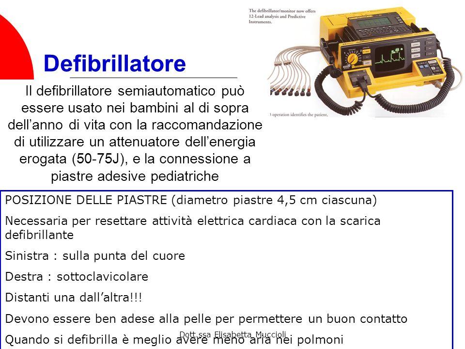 Dott.ssa Elisabetta Muccioli Defibrillatore Il defibrillatore semiautomatico può essere usato nei bambini al di sopra dellanno di vita con la raccoman