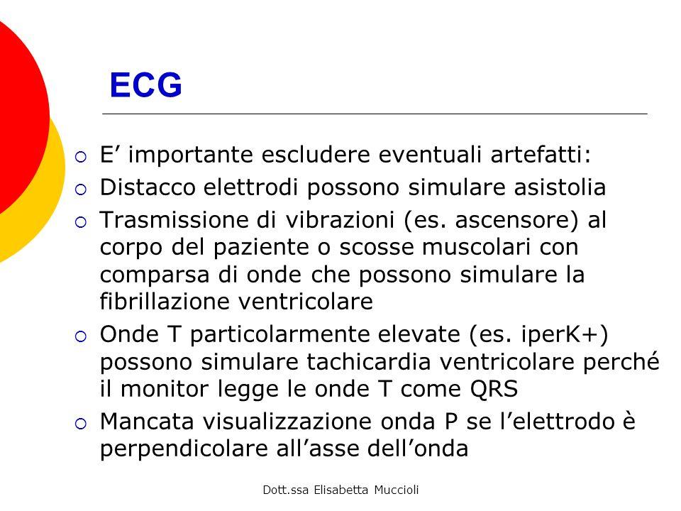 Dott.ssa Elisabetta Muccioli ECG E importante escludere eventuali artefatti: Distacco elettrodi possono simulare asistolia Trasmissione di vibrazioni