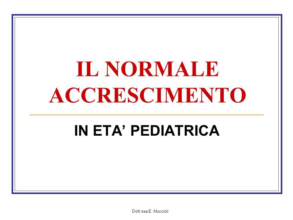Dott.ssa E. Muccioli IL NORMALE ACCRESCIMENTO IN ETA PEDIATRICA