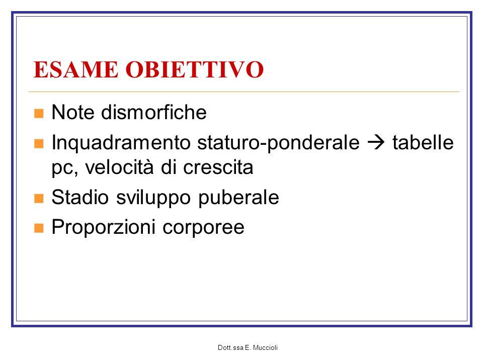Dott.ssa E. Muccioli ESAME OBIETTIVO Note dismorfiche Inquadramento staturo-ponderale tabelle pc, velocità di crescita Stadio sviluppo puberale Propor