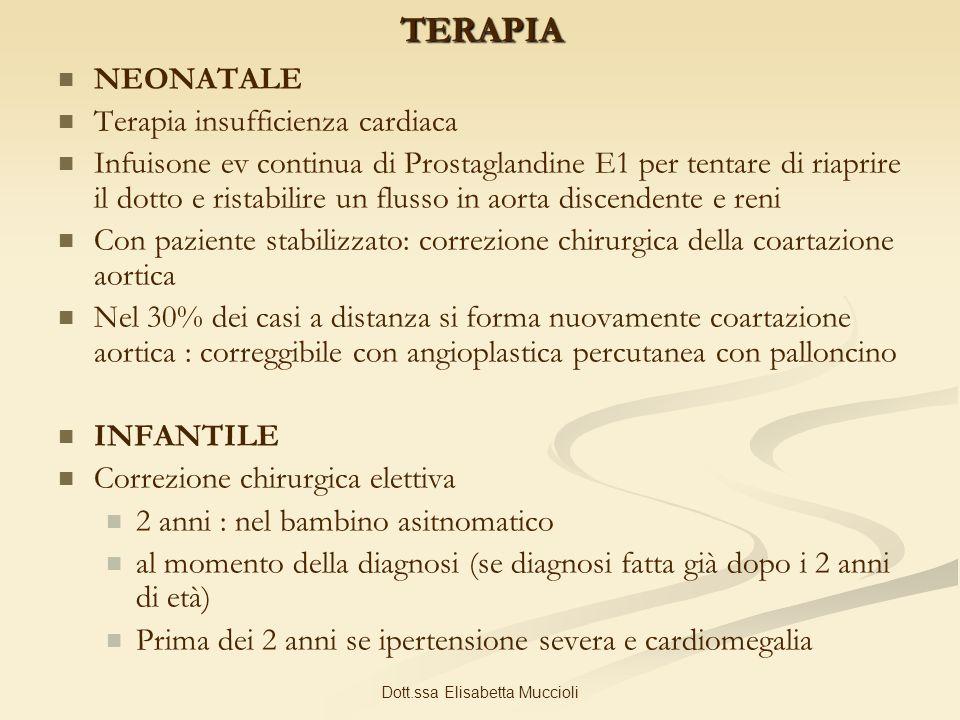 Dott.ssa Elisabetta MuccioliTERAPIA NEONATALE Terapia insufficienza cardiaca Infuisone ev continua di Prostaglandine E1 per tentare di riaprire il dot