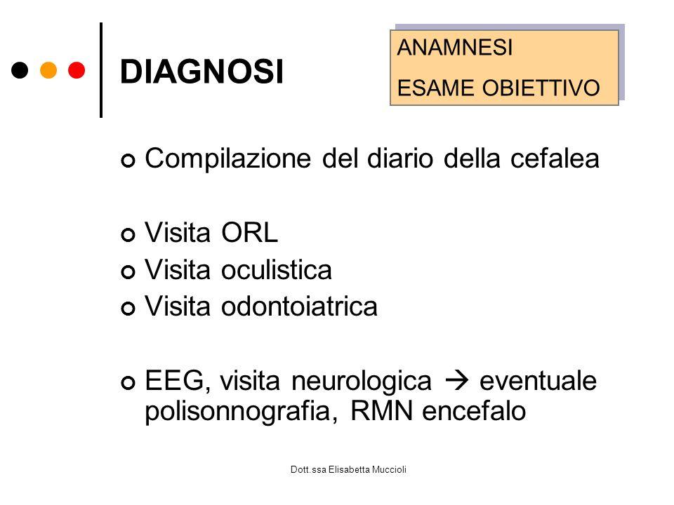 Dott.ssa Elisabetta Muccioli DIAGNOSI Compilazione del diario della cefalea Visita ORL Visita oculistica Visita odontoiatrica EEG, visita neurologica
