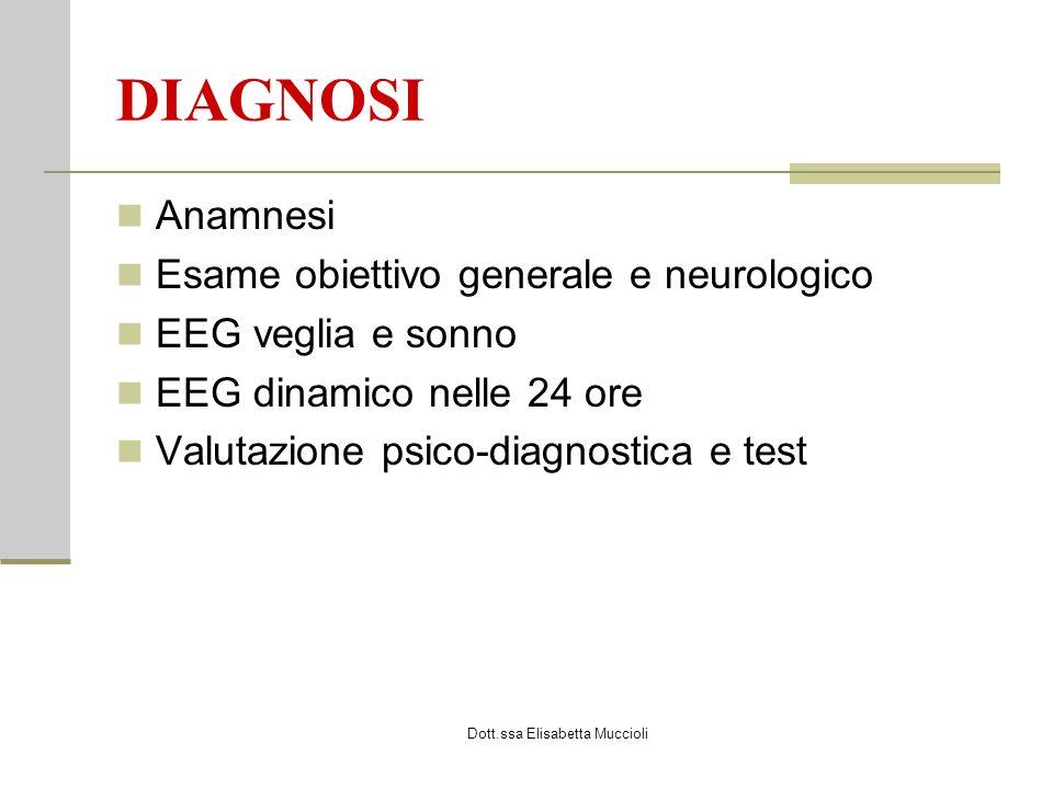 Dott.ssa Elisabetta Muccioli DIAGNOSI Anamnesi Esame obiettivo generale e neurologico EEG veglia e sonno EEG dinamico nelle 24 ore Valutazione psico-diagnostica e test